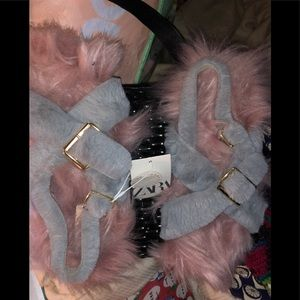 Zara NEW tags pink blue fluffy all faux fur shoes7